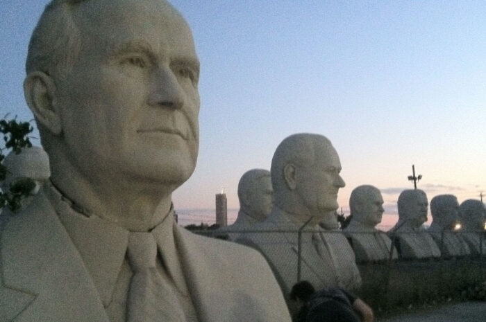 giant plaster busts of several u.s. presidents
