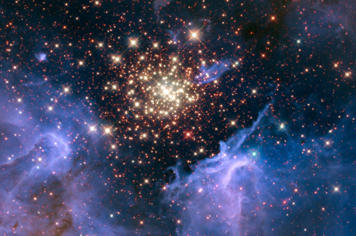 a glittering field of stars with lavender dust clouds